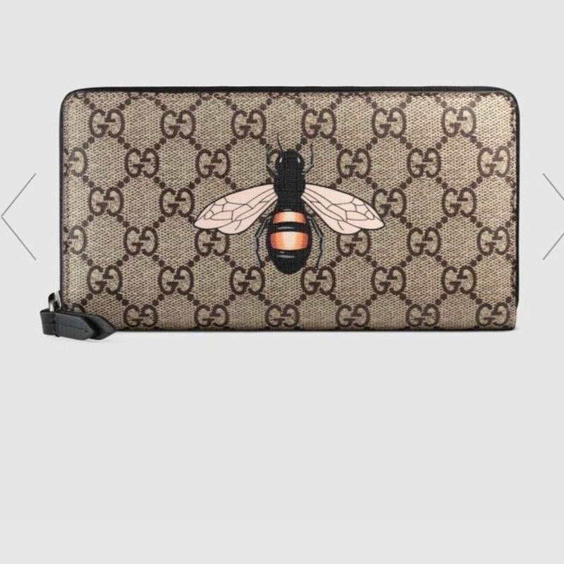 Gucci Bee Print GG Supreme Zip Around Wallet - 451273 * £460