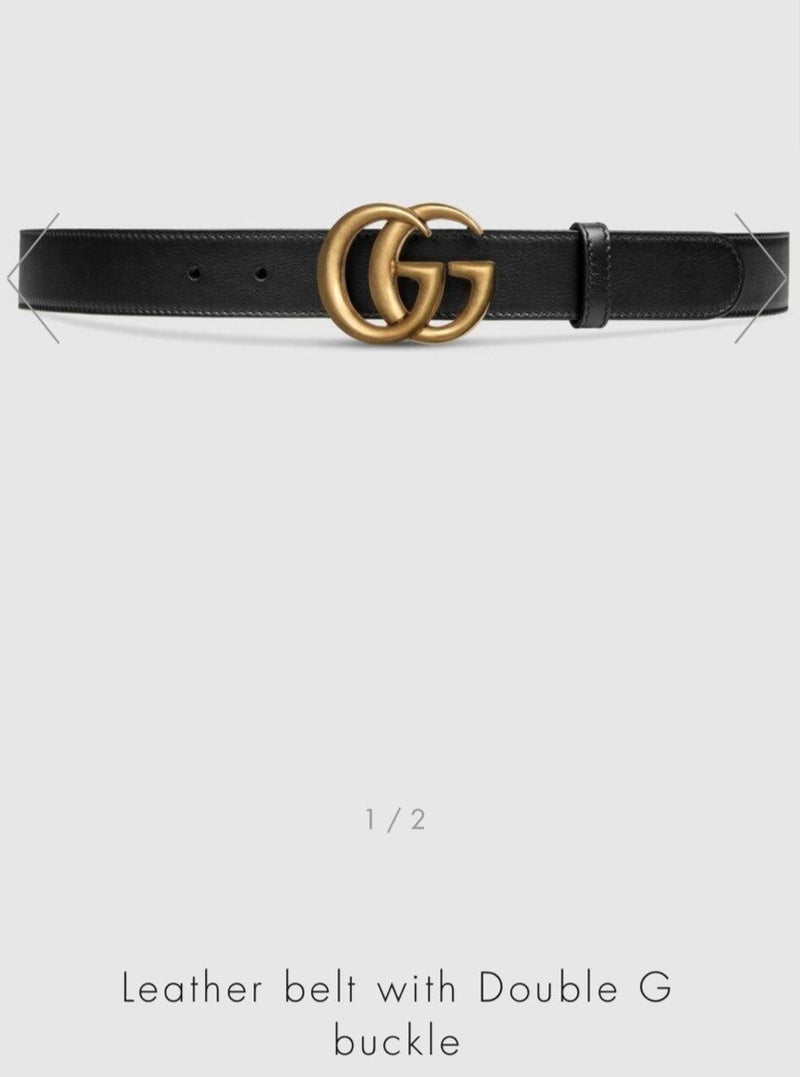 Gucci Leather Belt with Double G Buckle Black 3cm width - 414516 * £295 / £ 325