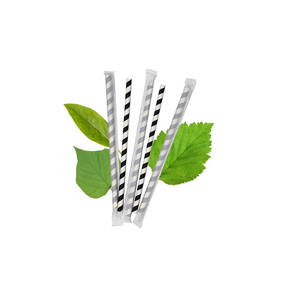 8mm Wrapped Compostable  Straw - Black and White Candy Stripe (200 Per Pack)