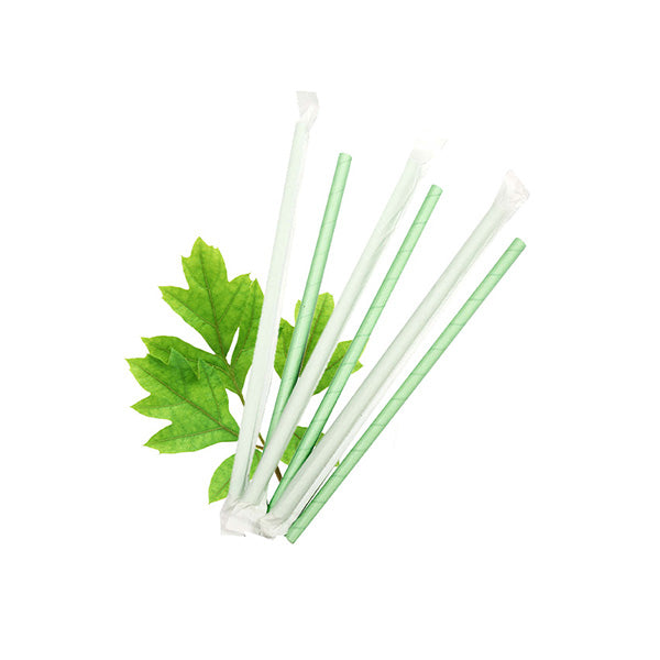 8mm Wrapped Smoothie Compostable  Straw - Green (200 Per Pack)