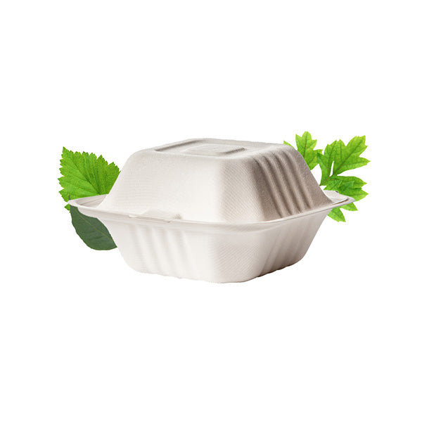 Biodegradable Clamshell Hamburger Box - Bagasse (50 Per Pack)