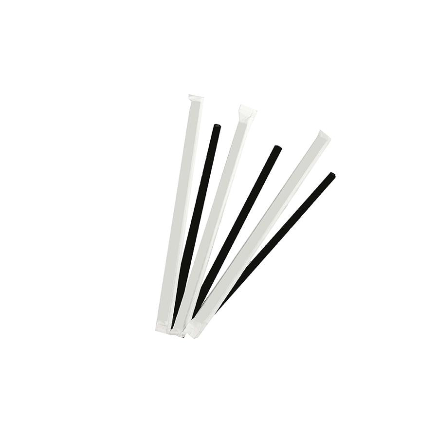 6mm Wrapped Compostable  Straw - Solid Black (300 Per Pack)