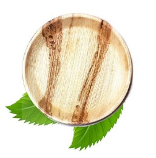 25cm Palm Leaf Round Dinner Plate (pack of 6)