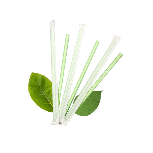 6mm Wrapped Compostable  Straw - White dot on Green (300 Per Pack)