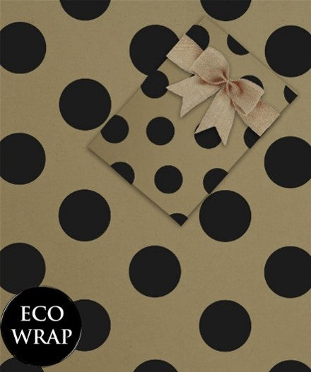 ECO GIFTWRAP - Kraft & Black Dot - 10m