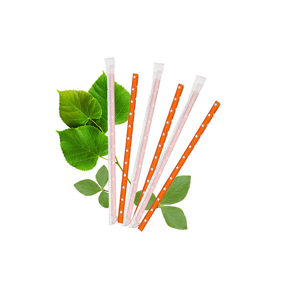 6mm Wrapped Compostable  Straw - Orange with White Stars (300 Per Pack)