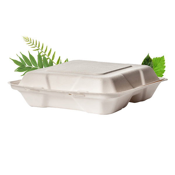 Compostable Three Division 9inch / 1200ml Clamshell - Bagasse (50 Per Pack)