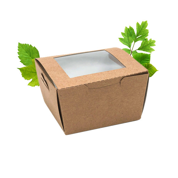 Compostable Kraft Brownie Box with PLA Window (50 Per Pack)