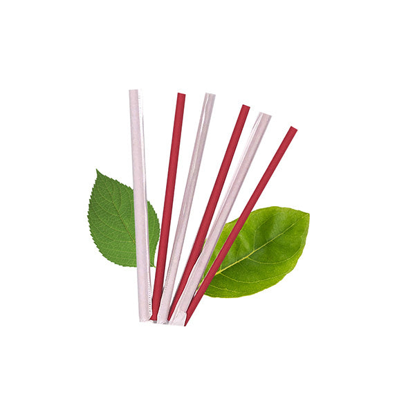 6mm Wrapped Compostable  Straw - Plain Red (300 Per Pack)