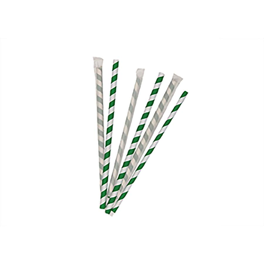 6mm Wrapped Compostable  Straw - Green and White Candy Stripe  (300 Per Pack)