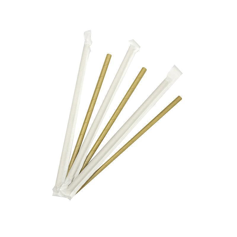 6mm Wrapped Compostable  Straw - Kraft (300 Per Pack)