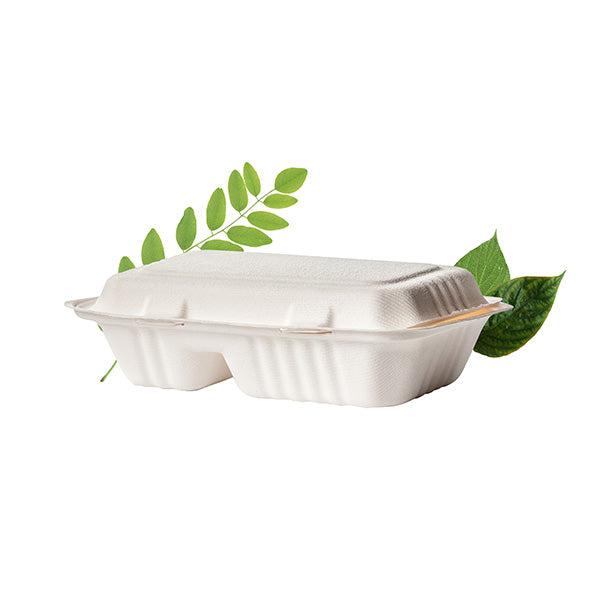 Biodegradable 1000ml 2 Division Combi Box - Bagasse (50 Per Pack)