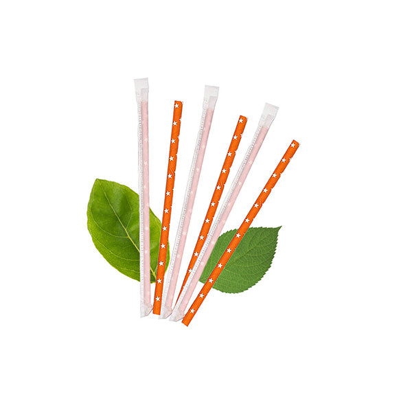 8mm Wrapped Smoothie Compostable  Straw - Orange with White Stars (200 Per Pack)