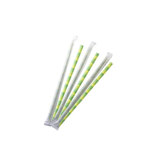 8mm Wrapped Smoothie Compostable  Straw - Green Bamboo Print (200 Per Pack)