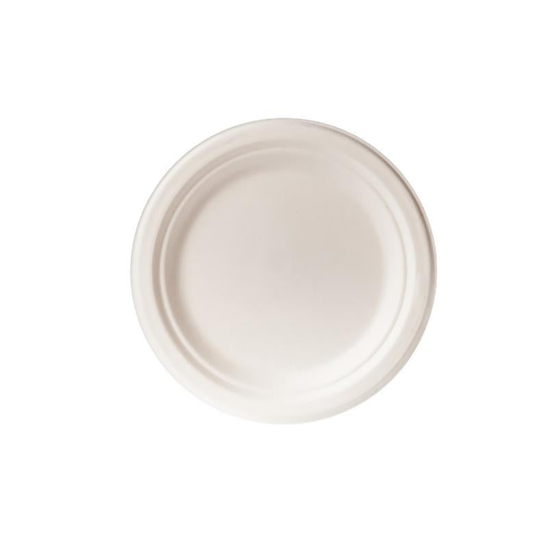 Biodegradable 18 cm Round Plate  - Bagasse (50 Per Pack)