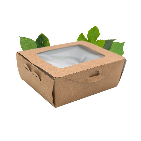 500ml Compostable Deli Salad Box with PLA Window (50 Per Pack)