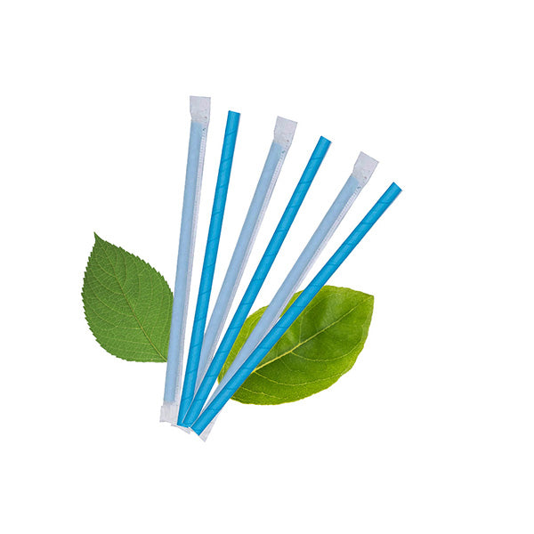 8mm Wrapped Compostable  Straw - Plain Blue (200 Per Pack)