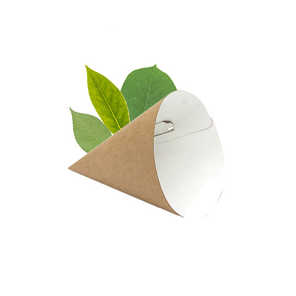 Compostable  Small Kraft  Chip Cone- Kraft (50 Per Pack)
