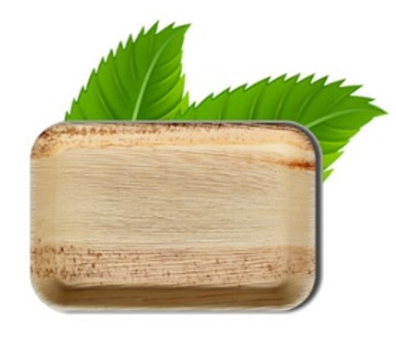 23cm Palm Leaf Rectangular Plate (pack of 6)