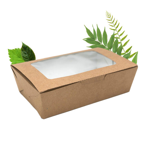 800ml Compostable Deli Salad Box with PLA Window (50 Per Pack)