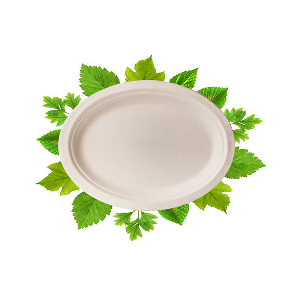 Biodegradable Small Oval Plate - Bagasse (50 Per Pack)