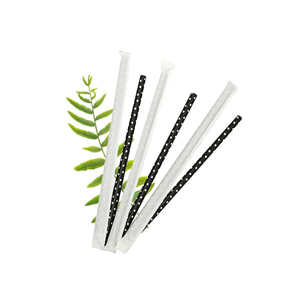 8mm Wrapped Smoothie Compostable  Straw - White Dot on Black (200 Per Pack)
