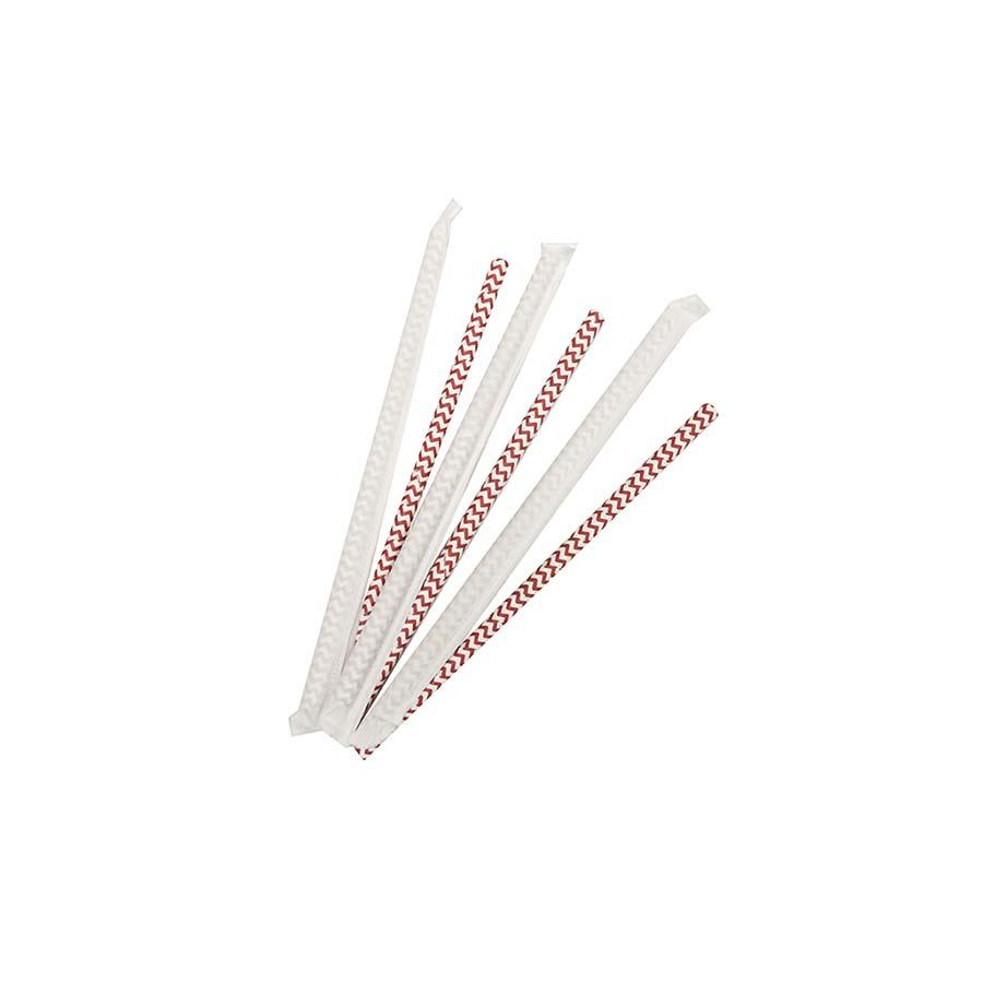 8mm Wrapped Smoothie Compostable  Straw - Red and White Chevron (200 Per Pack)