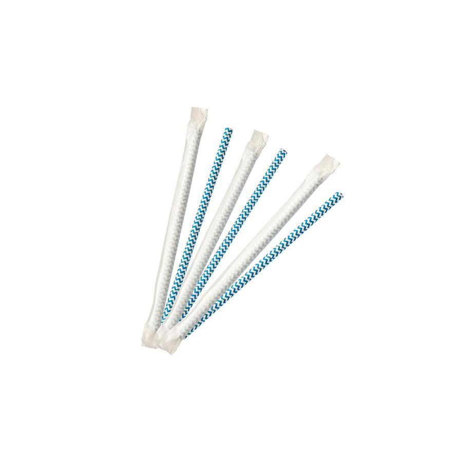 8mm Wrapped Compostable  Straw - Blue and White Chevron  (200 Per Pack)