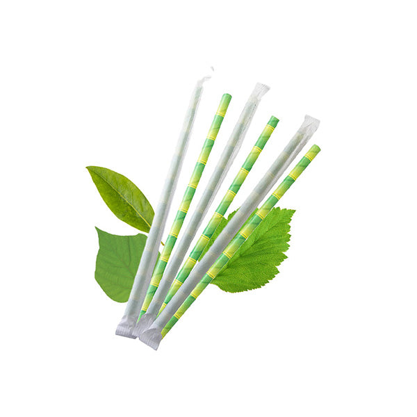 6mm Wrapped Compostable  Straw - Green Bamboo Print (300 Per Pack)
