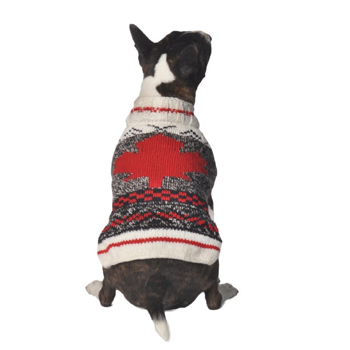 Camp Maple Leaf Hand-Knit Wool Dog Sweater