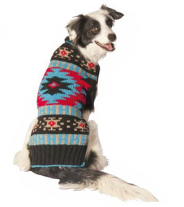Black Southwest Shawl Hand-Knit Wool Dog Sweater