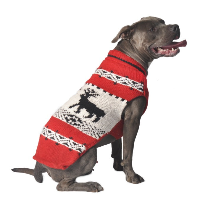 Red Reindeer Shawl Hand-Knit Wool Dog Sweater