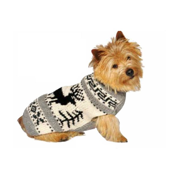 Reindeer Shawl Hand-Knit Wool Dog Sweater