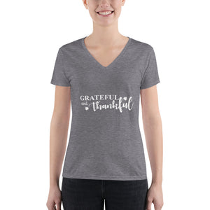 Grateful and Thankful (Women's Fashion Deep V-neck Tee)