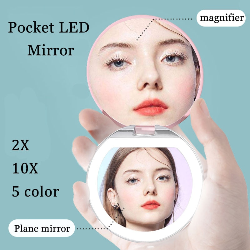 Led Light Pocket Mirror-Solhoppa-Blue-SolHoppa