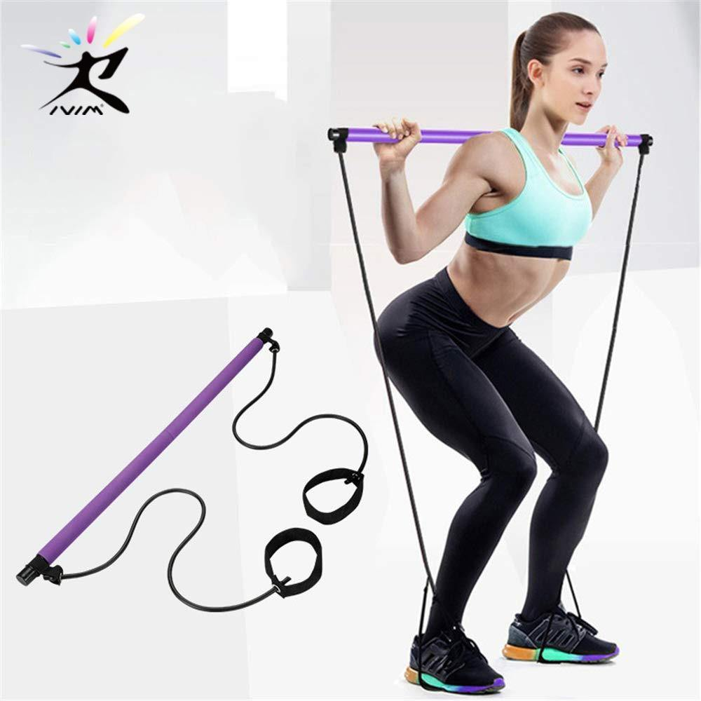 Pilates Stick Bar with Resistance bands Yoga Exercise-SolHoppa-Pink-SolHoppa