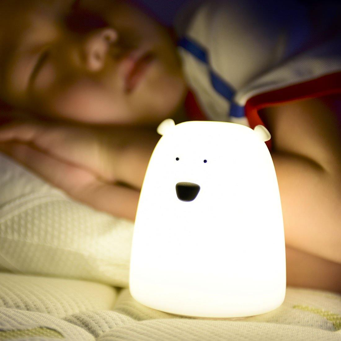 Children Baby Bedroom Night Lamp Cute Bear Silicone LED Night Light Color Changing LED Bedside Light-SolHoppa-Battery Type-SolHoppa