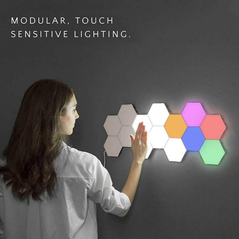 Quantum Light Hexagonal Wall Light Touch Sensitive Modular Light DIY Quantum Lights Creative Geometry Assembly LED Night Light for Home Decor-SolHoppa-10pcs Colorful-EU-SolHoppa