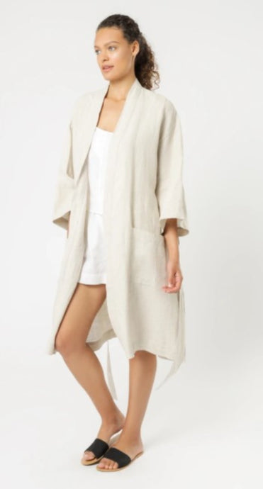 Nude Lucy Nude Linen Lounge Robe Natural