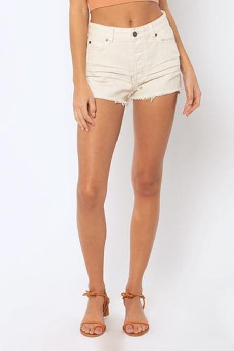 Amuse Society Shoreline Denim Shorts White Cap