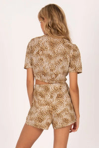 AMUSE SOCIETY Jungle Babe Short Sleeve Woven Top