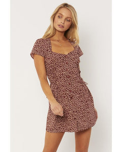 AMUSE SOCIETY Rayne Woven Mini Dress Shag Brown