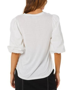 Minkpink Carly Balloon Sleeve Top Ivory