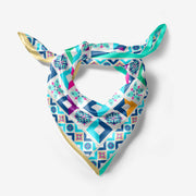 Gold & Turquoise Mosaic - Pure Silk Scarf