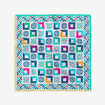 Gold & Turquoise Mosaic Silk Twill Scarf