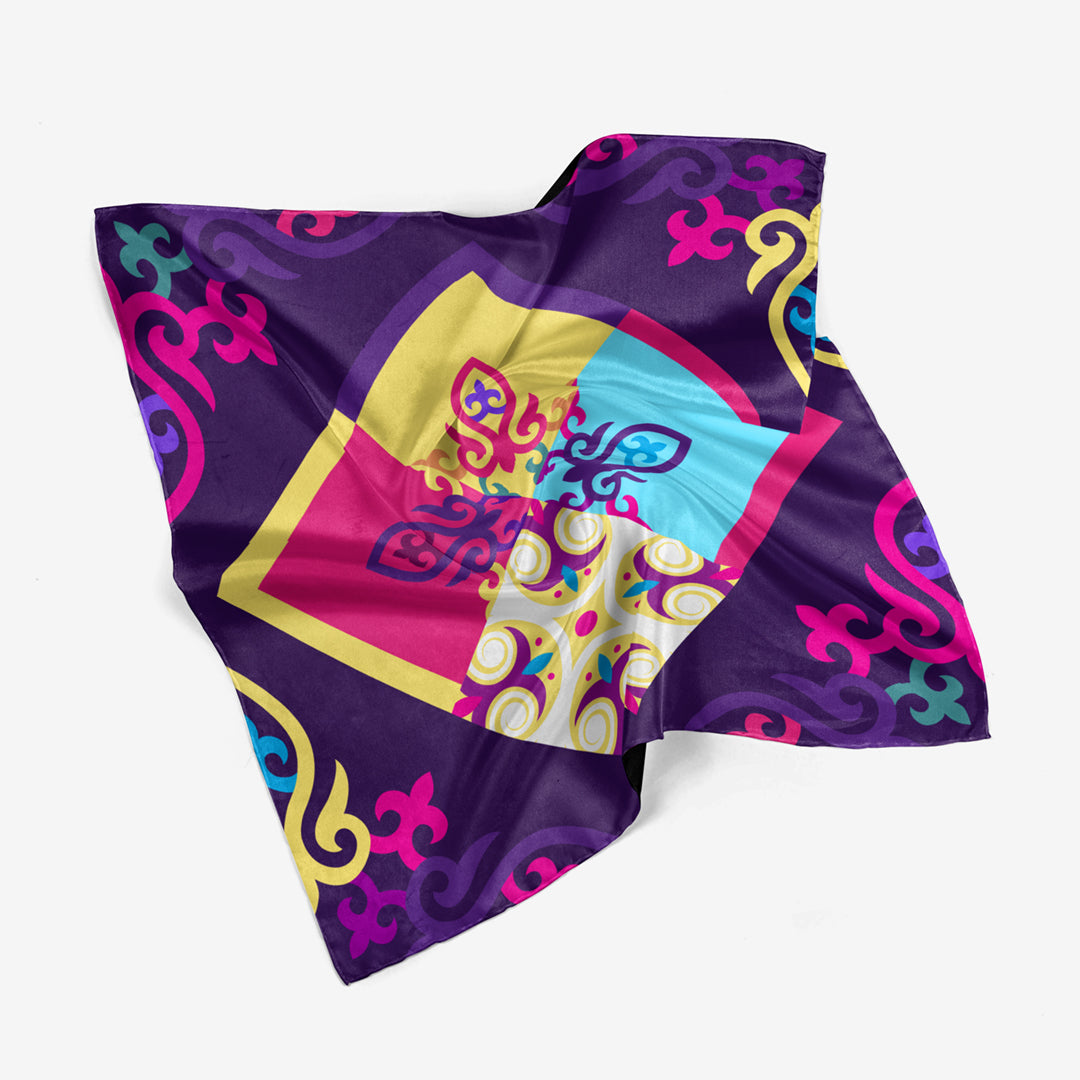 Great Steppe - Purple Silk Scarf
