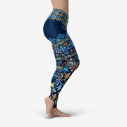 Jade Blue Printed Yoga Leggings