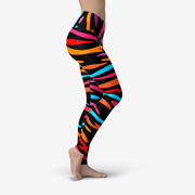 Neon Bengal Tiger Stripes Printed Yoga Leggings