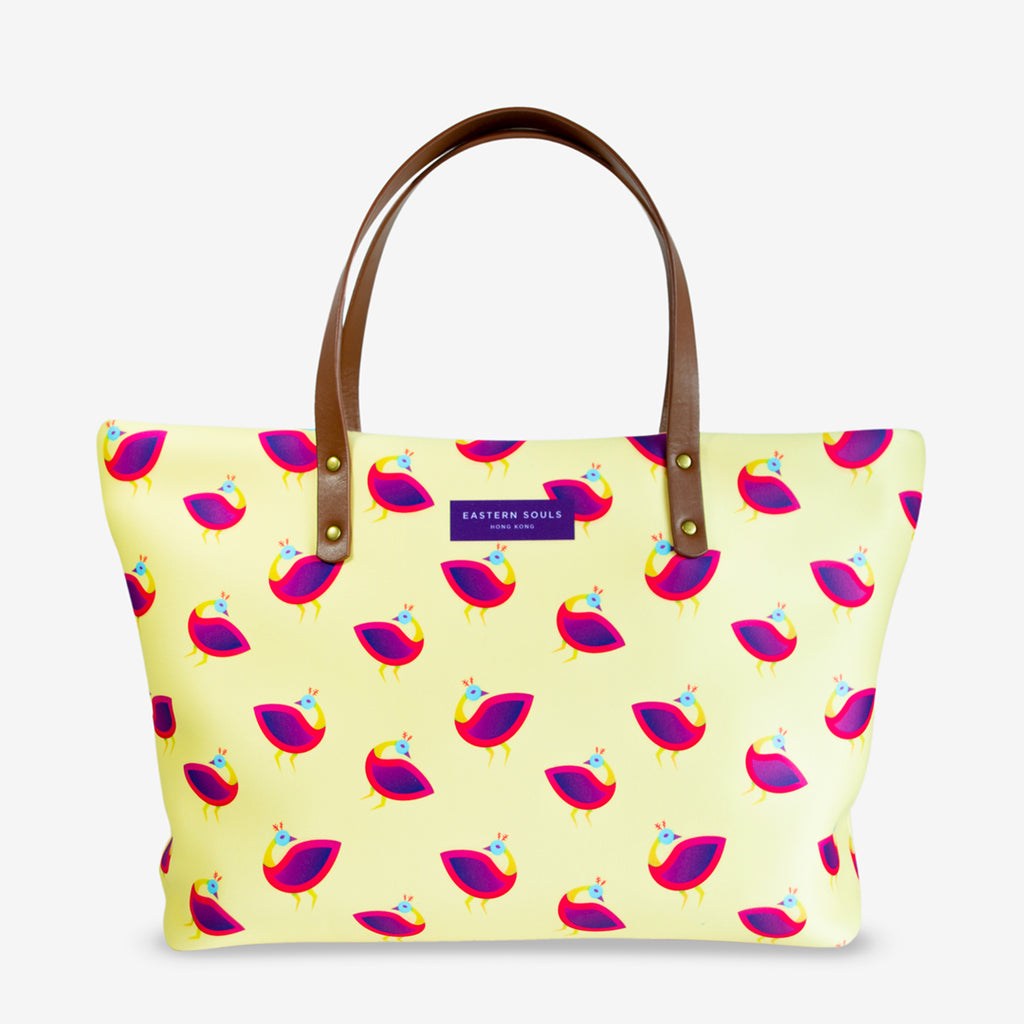 Yellow Peacock Print Large Tote Bag