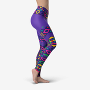 Rickshaw Pattern Purple Yoga Leggings